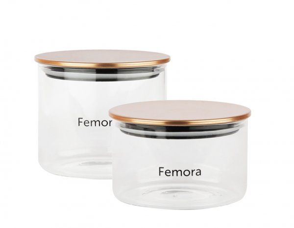 Femora Borosilicate Glass Air Tight Trend Jars with Golden Metalic Lid , 550ml 700ml