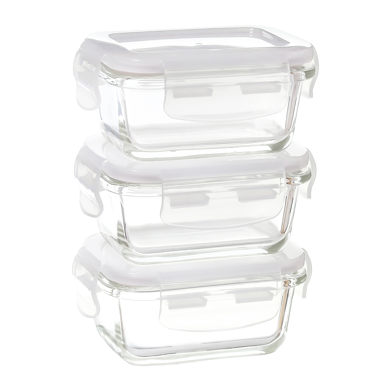Borosilicate Glass Microwave Safe Rectangle Container, 140 ML, Set of 3 ( Mini Container )