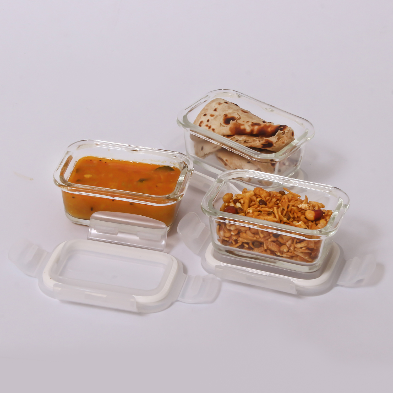 Femora Borosilicate Glass Microwave Safe Rectangle Container, Set of 3, 150 ML