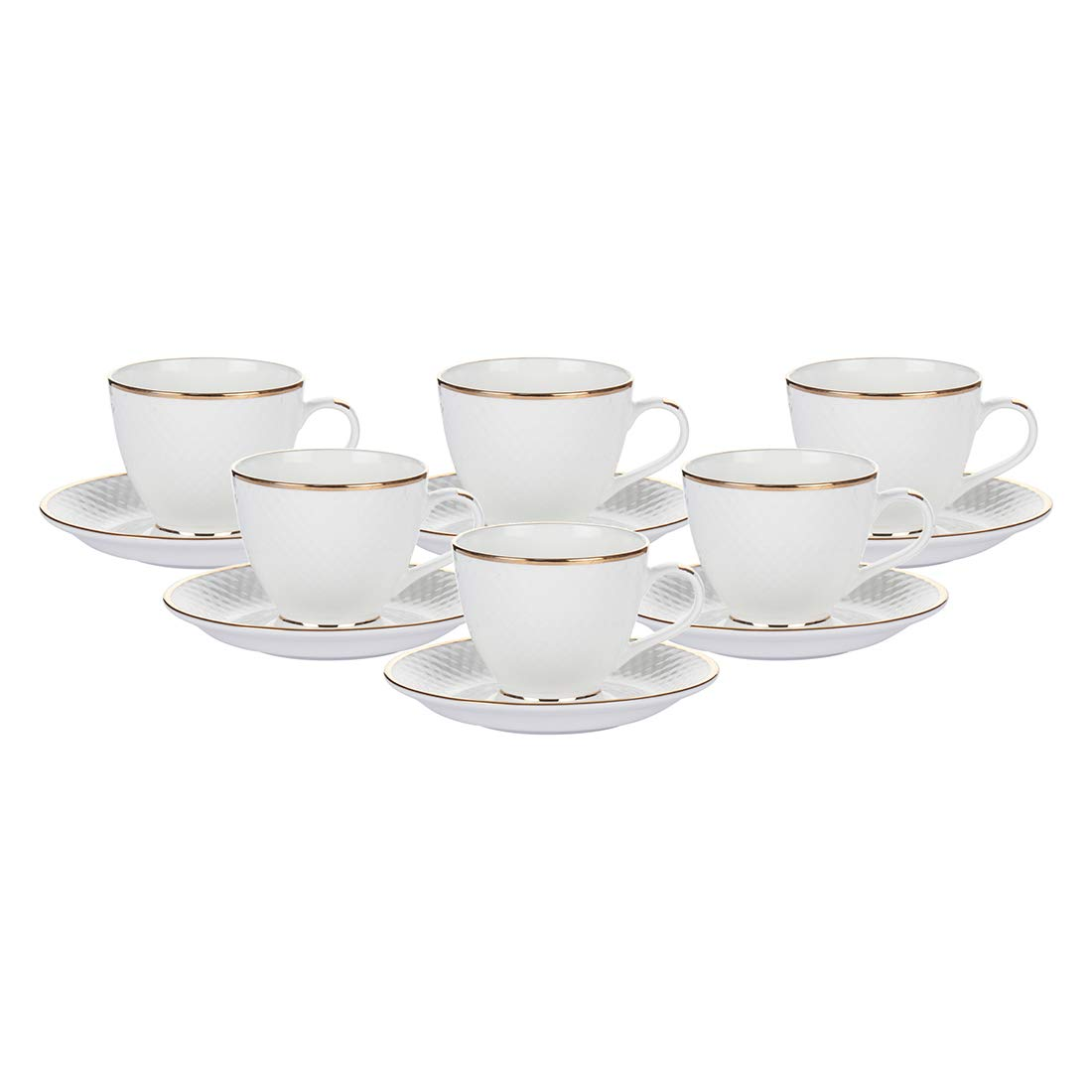 Indian Ceramic Gold Line Diamond Cut White Cups & Saucer- 190 ML
