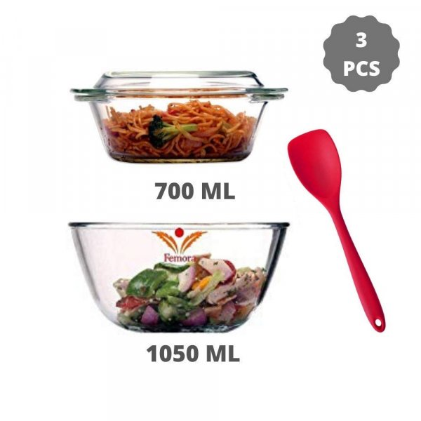 Borosilicate Glass Microwave Safe Mixing Bowl 1050 ML, Serving Casserole 700 ML, Silicone Spatual Serving Set of 3