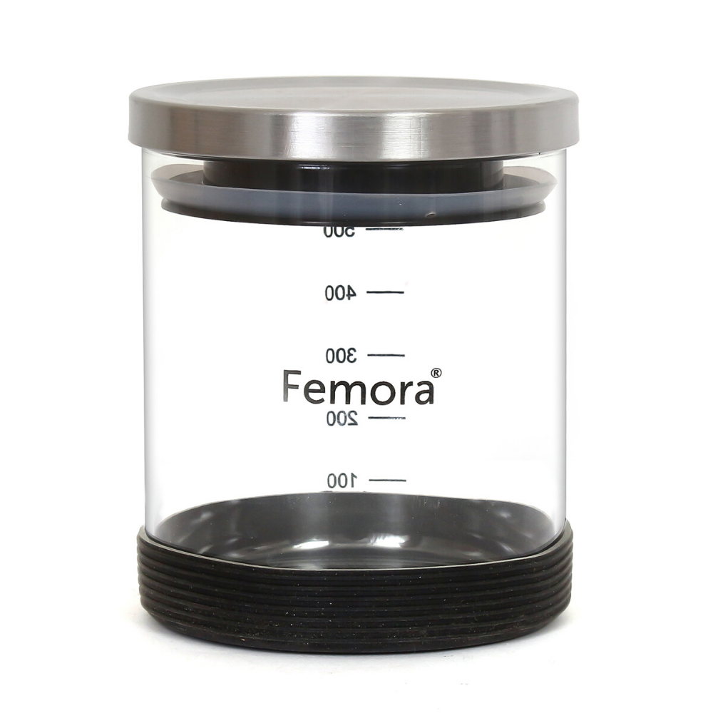 Borosilicate Glass Storage Steel Lid Jar with Silicone, 500 ML