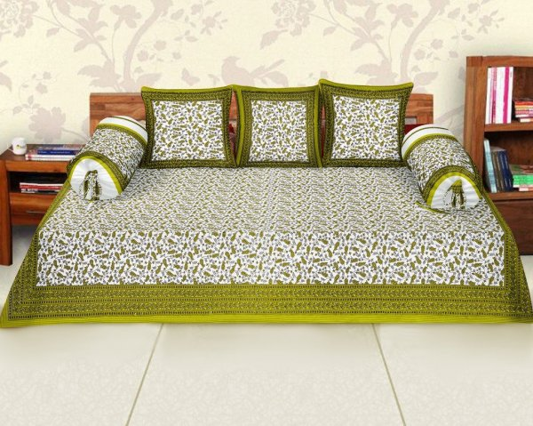 Femora Cotton Printed Diwan Set -Pack of 6 - Multicolor Variation (Green)