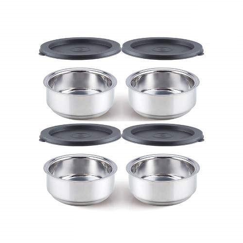 Double Wall Stainless Steel Round Container Lunch Box - 300 ML, Set of 4 (Free Achar Plate)
