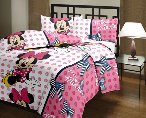 Frabjous Miss Minnie Printed Polycotton Double Bed Reversible AC Dohar/Blnaket/Quilt Foe Kids (Pink)