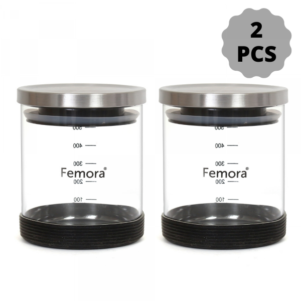 Borosilicate Glass Steel Lid Jar with Silicone, 500 ML - Set of 2