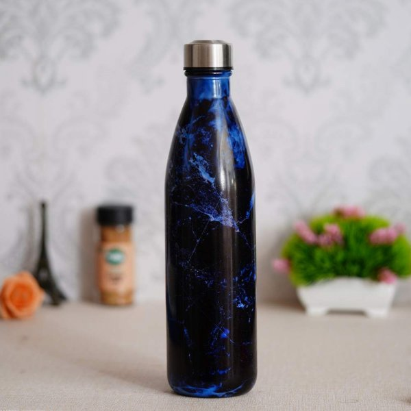 Glass Deep Sea Blue  Water Bottle with Steel Cap - 1 Pc