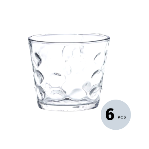 Clear Glass Bubble Water Tumbler - 300 ML, Set of 6