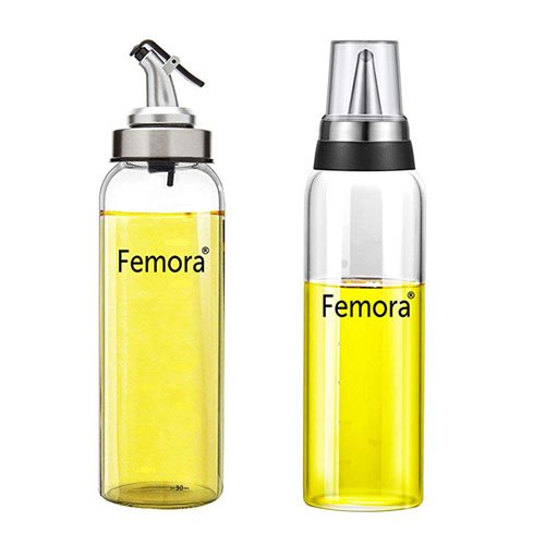 Femora Borosilicate Glass Metallic Lid Oil Bottle Jar Dispenser- 500ml - Set of 2