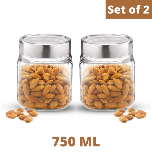 Cubical Clear Glass Jar - 750 ML, Set of 2