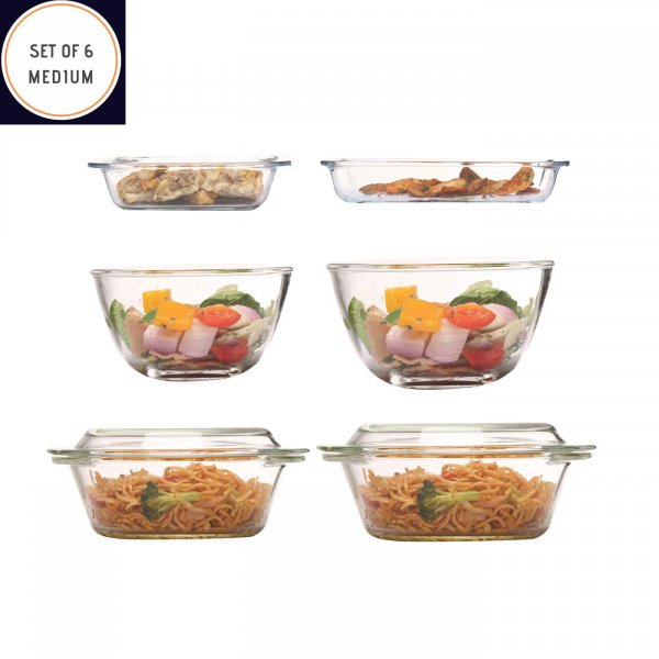 Borosilicate Glass Bakeware, Set of 6(Medium)