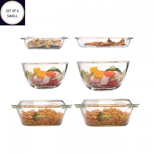 Femora Borosilicate Glass Microwave Safe Bakeware Set (Small)
