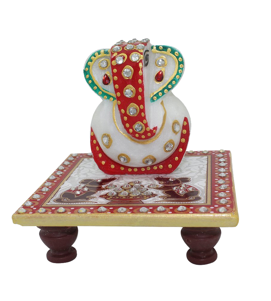 Femora Marvellous Marble Ganesha Idol on Chowki (Meenakari and Kundan Work) in Different Colors puja articles Rajasthani Handicrafts Art Antique Decorative Unique all occasion Gift product