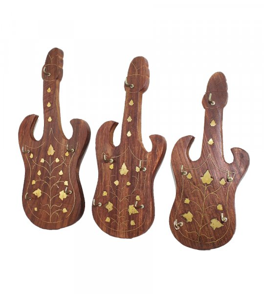 Femora Exclusive Wooden Guitar Shaped HandCrafted Key Holder/ Key Chain Holder- For Gift / Home Décor