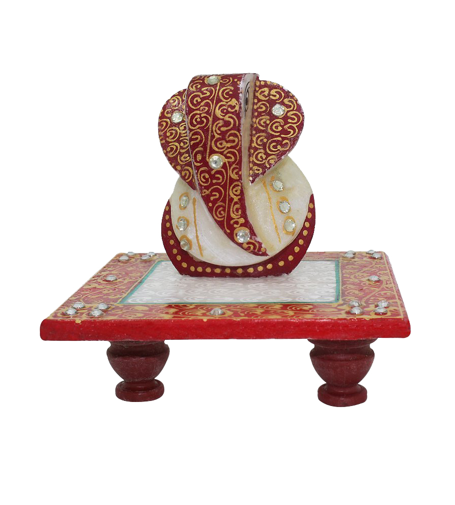 Femora Marvellous Marble Lord Ganesha Idol on Chowki (Meenakari and Kundan Work) in Different Colors puja articles Rajasthani Handicrafts Art Antique Decorative Unique all occasion Gift product