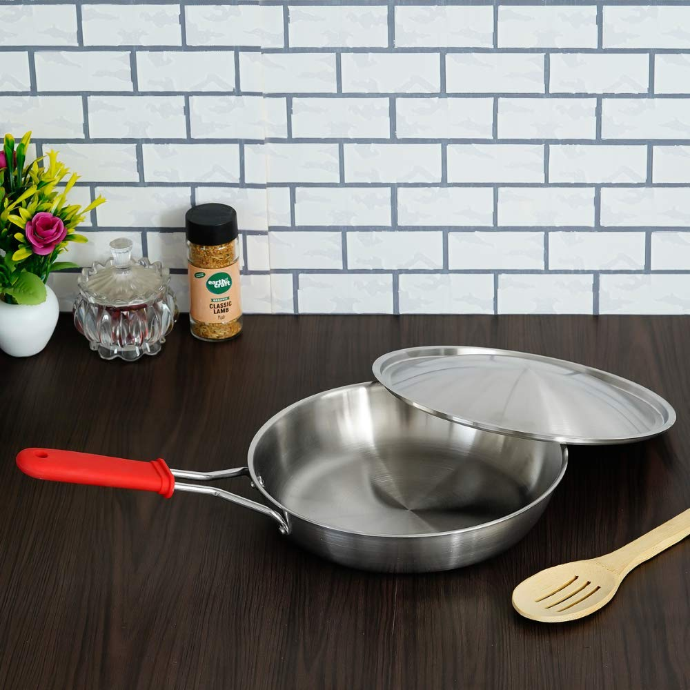 Tri-ply Frying Pan  with Silicone Handle with Steel Lid - Healthy Cooking (Zero Non-Stick Coating)