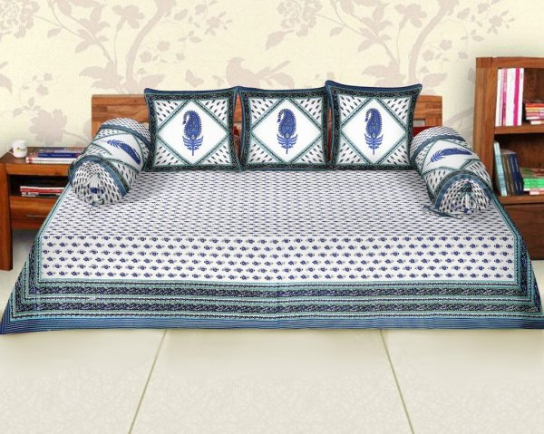 Femora Cotton Flora Printed Diwan Set -Pack of 6 (Blue)