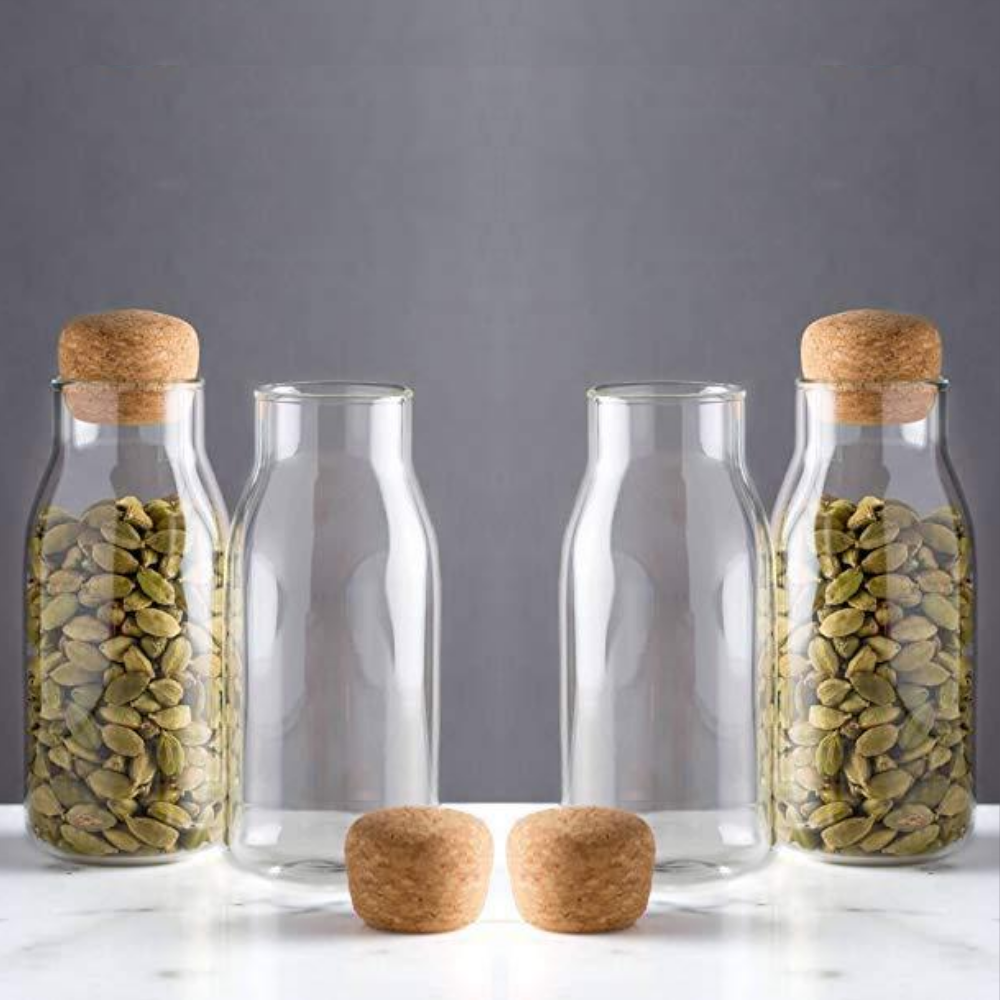 Femora Bottle Container Borosilicate Glass Bottle with Cork Jars & Container - 200ml/gm, Set of  4