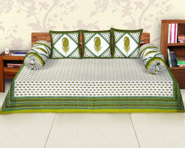 Femora Cotton Flora Printed Diwan Set -Pack of 6 (Green)