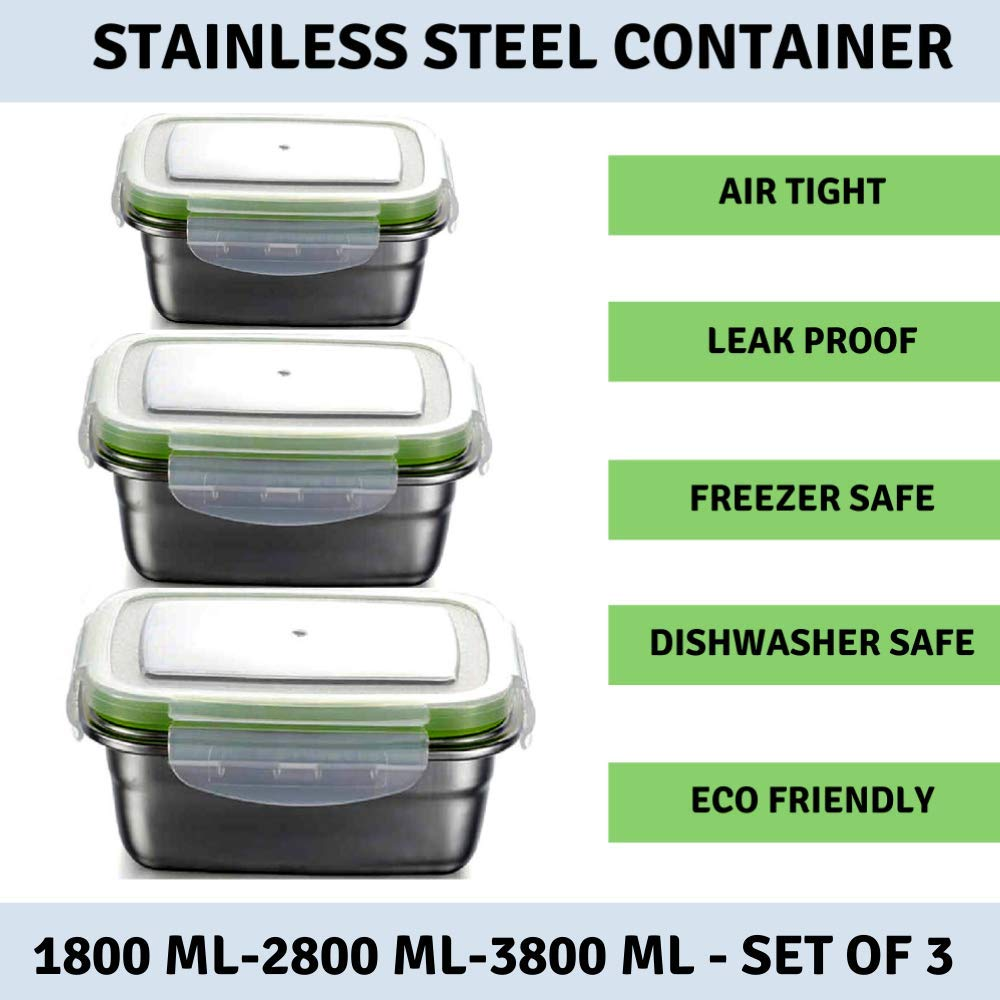 Femora High Steel Rectangle Container with Lock Lid Lunch Box for Office, Storage, Lunch Box - 1800ml, 2800ml, 3800ml, Set of 3