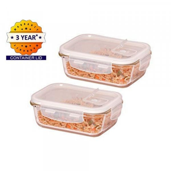 Borosilicate Glass Microwave Safe Rectangular Container, 620ml, Set of 2