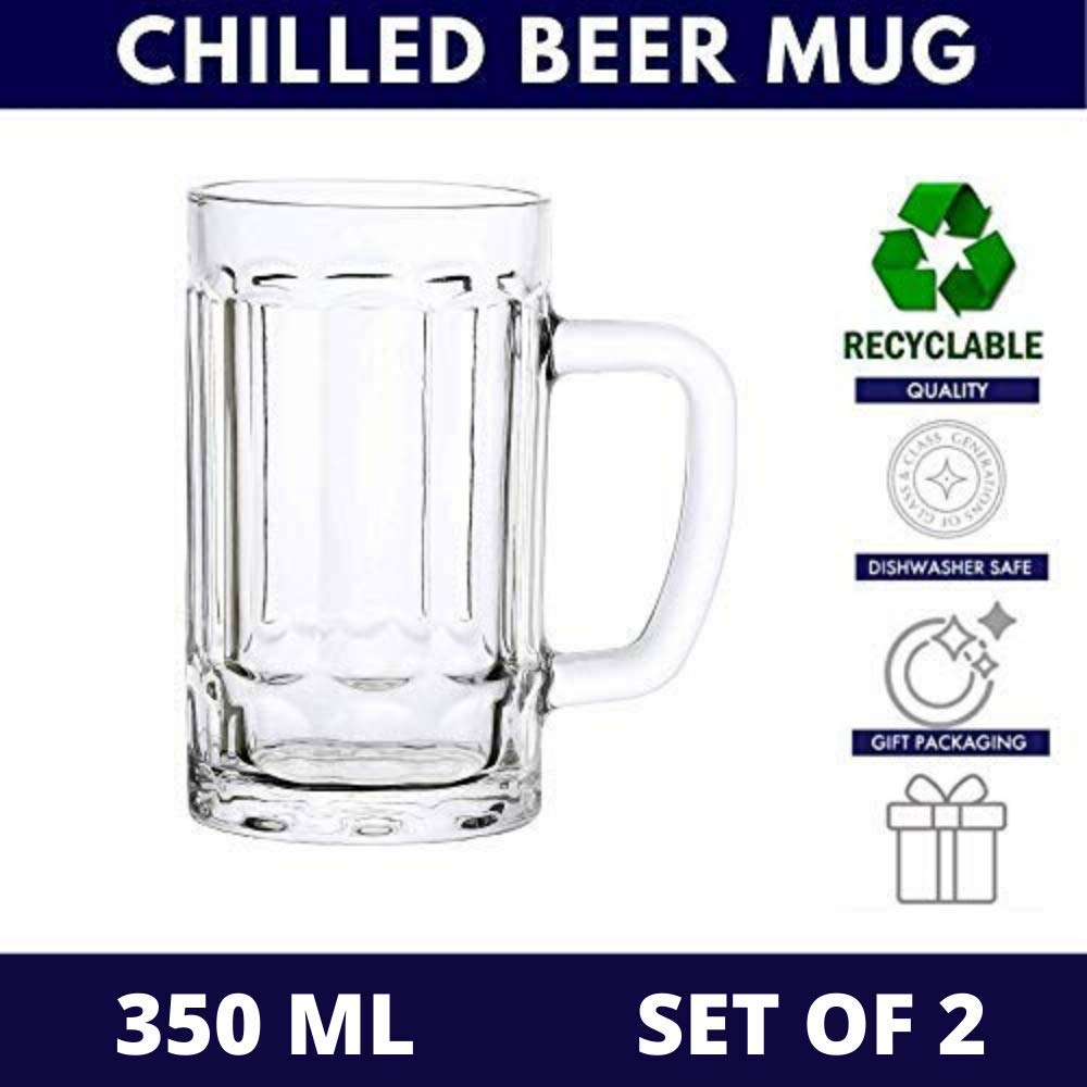 Clear Glass Mini Chilled Beer Mug 350 ml - Set of 2