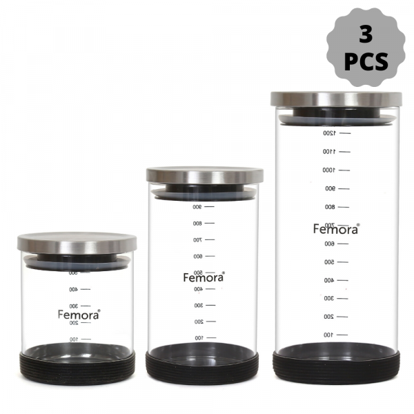 Borosilicate Glass Steel Lid Jar with Silicone, 500 ML_900 ML_1300 ML- Set of 3