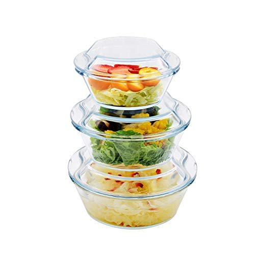Borosilicate Glass Microwave Safe Casserole - 500ML 1000ML, 1500ML, Set of 3