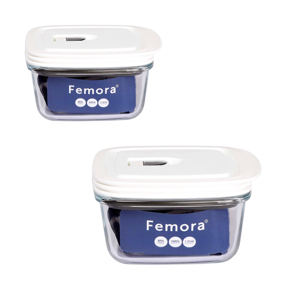 Femora Borosilicate Glass Square Container with Vacuum Lid - 430 ML, 950 ML - Set of 2