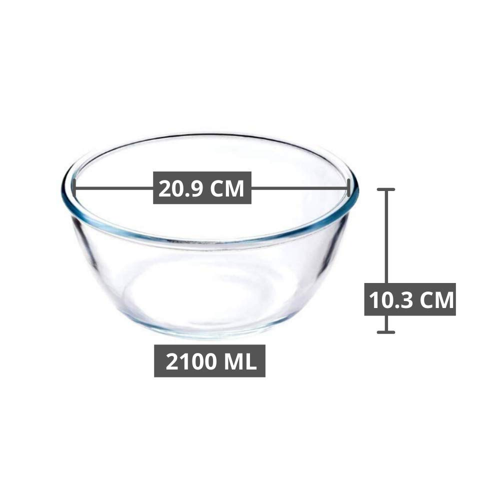 Borosilicate Glass Mixing Bowl Microwave Safe- 1650ml, 2100ml (Set of 2)