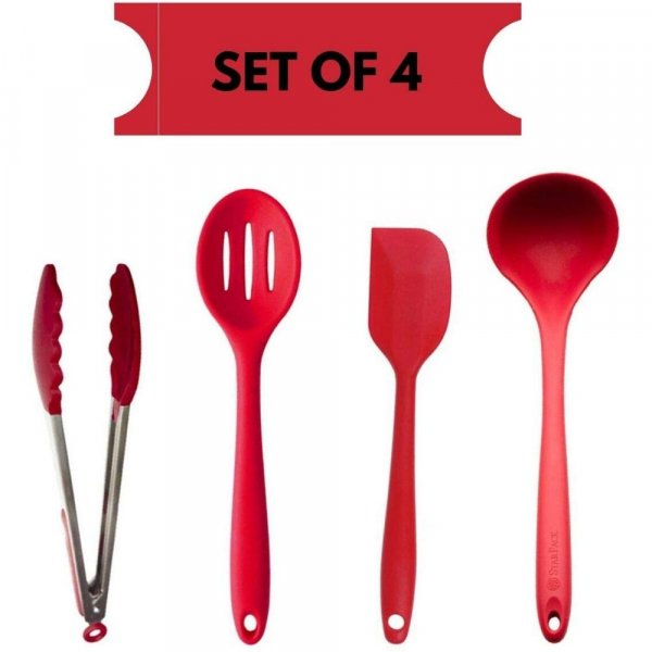 Femora Silicone Premium Slotted Spoon, Big Spatula, Food Tong, Laddle with Grip Handle