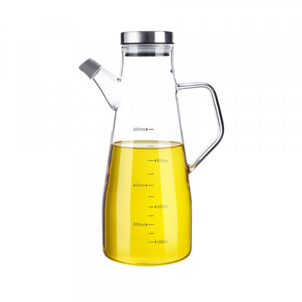 Femora Borosilicate Glass Oil Bottle with Glass Handle - 650 ML