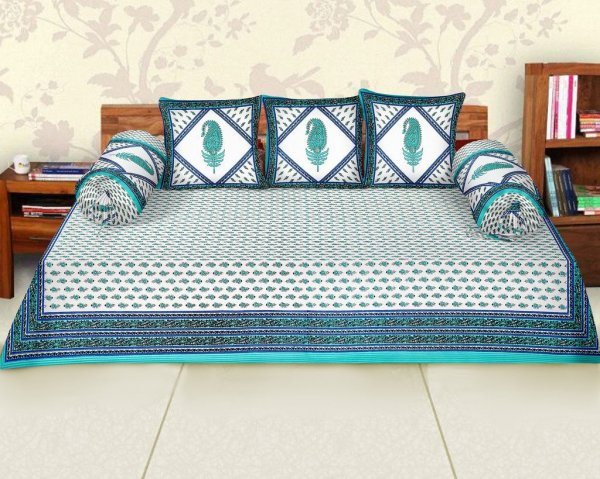 Femora Cotton Flora Printed Diwan Set -Pack of 6 - Green