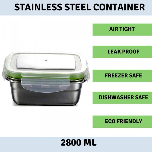 Femora High Steel Rectangle Container with Lock Lid Lunch Box for office, Storage, Lunch Box - 2800ml, Set of 4