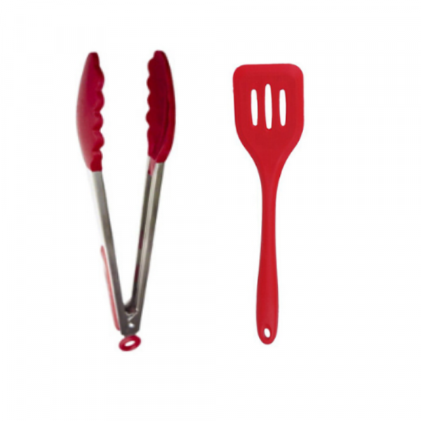Femora Silicone  slotted Turner and Food Tong, Red - Set of 2