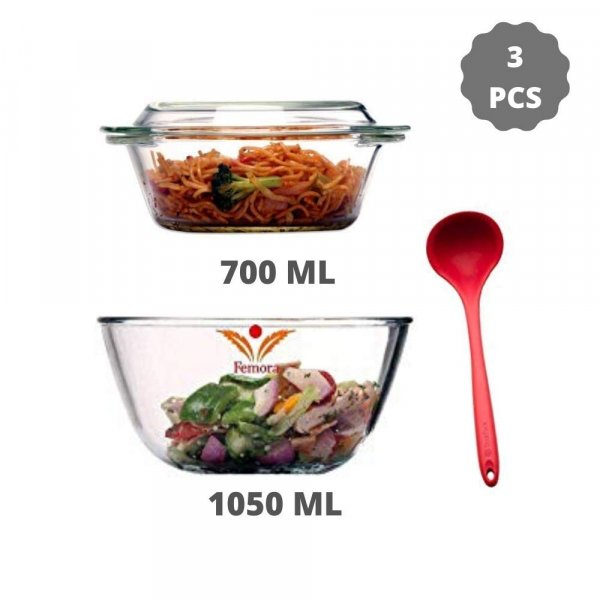 Borosilicate Glass Microwave Safe Mixing Bowl 1050 ML, Serving Casserole 700 ML, Silicone Laddle Serving, Set of 3