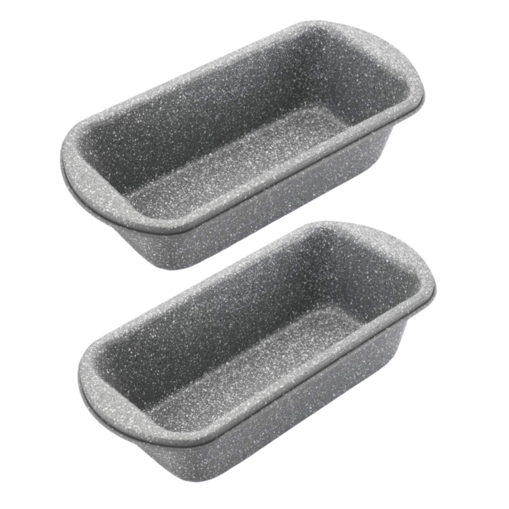 Femora Carbon Steel Stone Ware Non-Stick Coated Baking Loaf Pan Big for Kitchen Breads Combo Set of 2 - (26.5x12.5x5.5 cm)