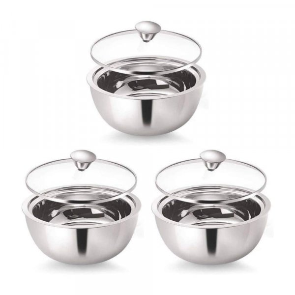 Stainless Steel Curry Server - 500ml - Set of 3