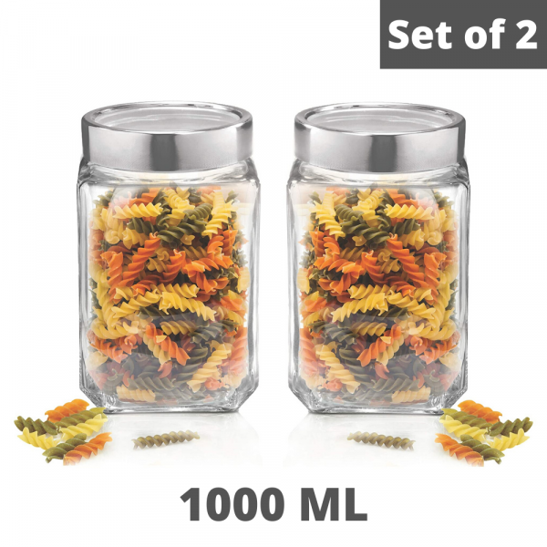 Femora Cubical Clear Glass Jar - 1000 ML, Set of 2