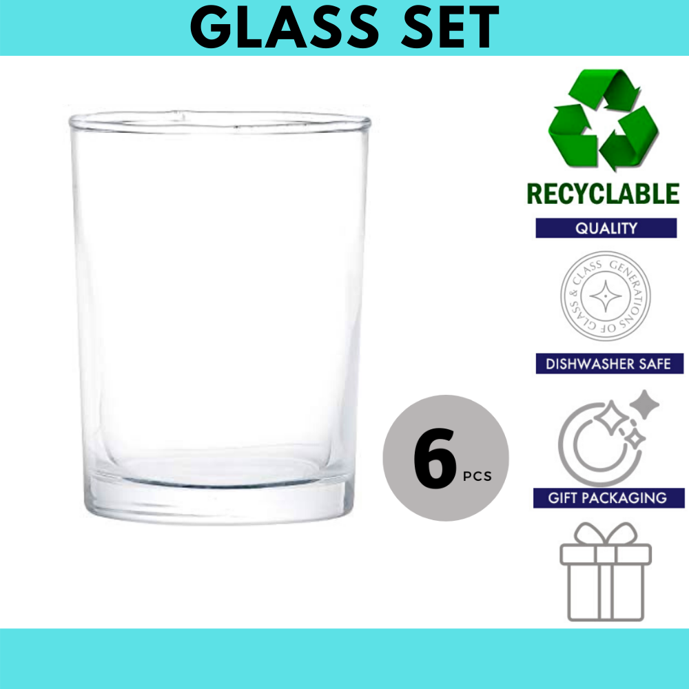 Femora Clear Glass Juice Tumbler  - 230 ML, Set of 6