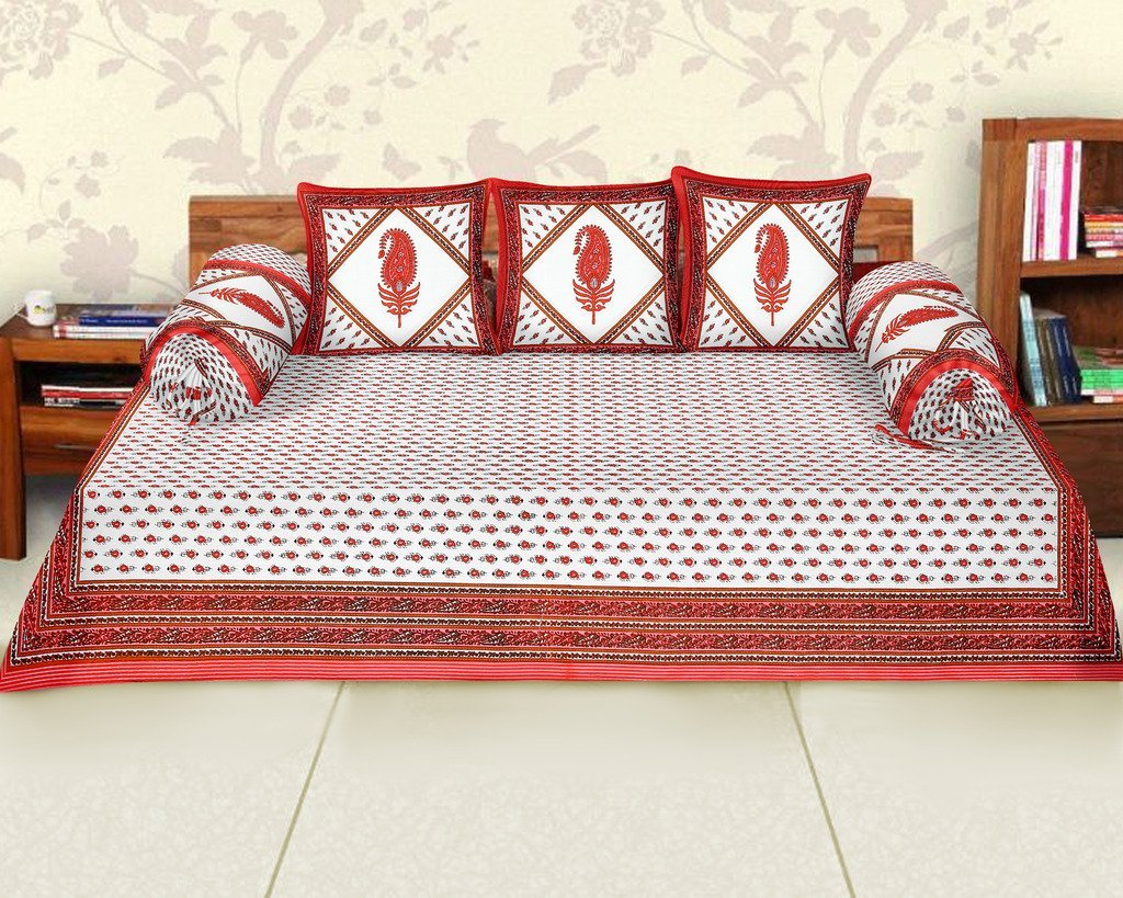Femora Cotton Flora Printed Diwan Set -Pack of 6 (Red)