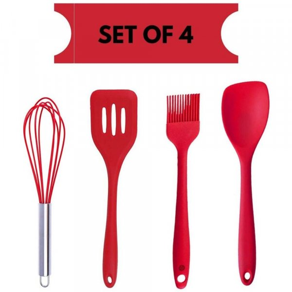 Femora Silicone Premium Egg Whisk, Slotted Turner, Spoon, Brush with Grip Handle, Red, Set of 4, 1 Year Warranty