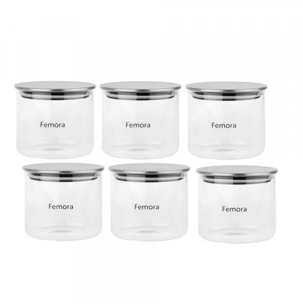 Femora Borosilicate Glass Air Tight Trend Jars with Silver Metalic Lid for Kitchen, 700ml Set of 6