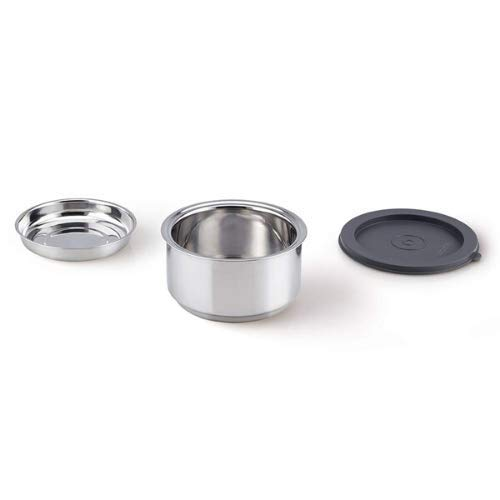 Double Wall Stainless Steel Round Container Lunch Box - 300 ML ,Set of 3 (Free Achar Plate)