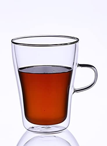 Borosilicate Glass Double Wall Modern Tea Cup-350 ML, Set of 4 pcs