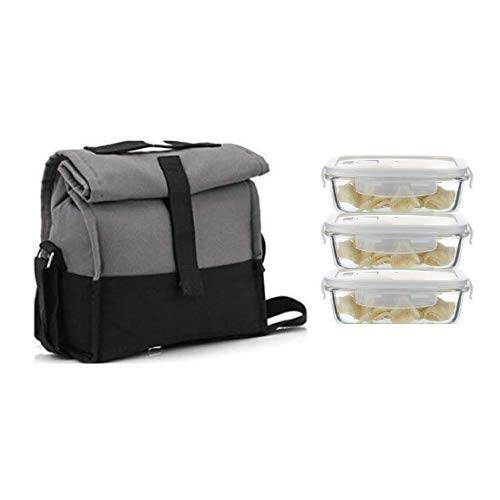Borosilicate Glass Rectangle Container Grey Black Lunch Box- 400 ML, Set of 3