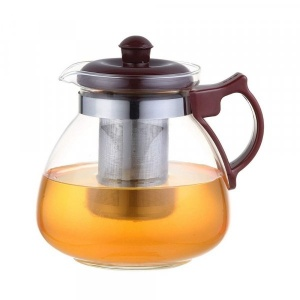 Borosilicate Glass Tea Pot Maroon Carafe with Strainer - 850 ML
