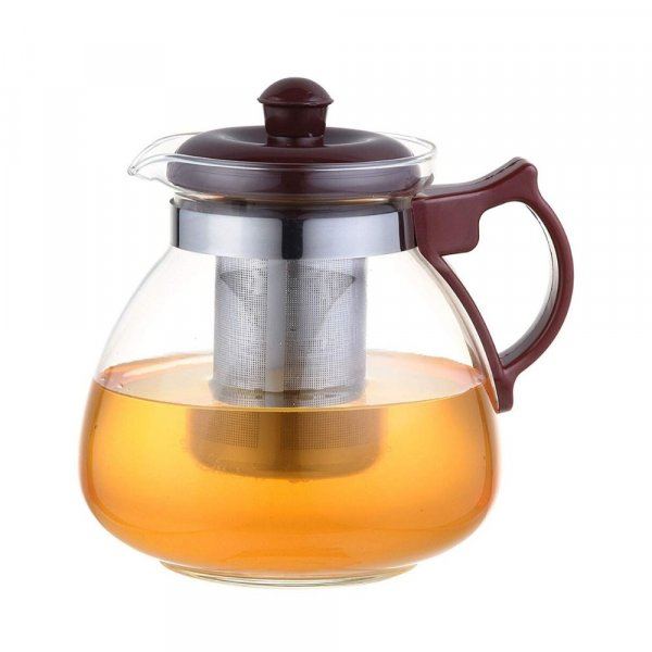 Borosilicate Glass Tea Pot Maroon Carafe with Strainer - 1050 ML