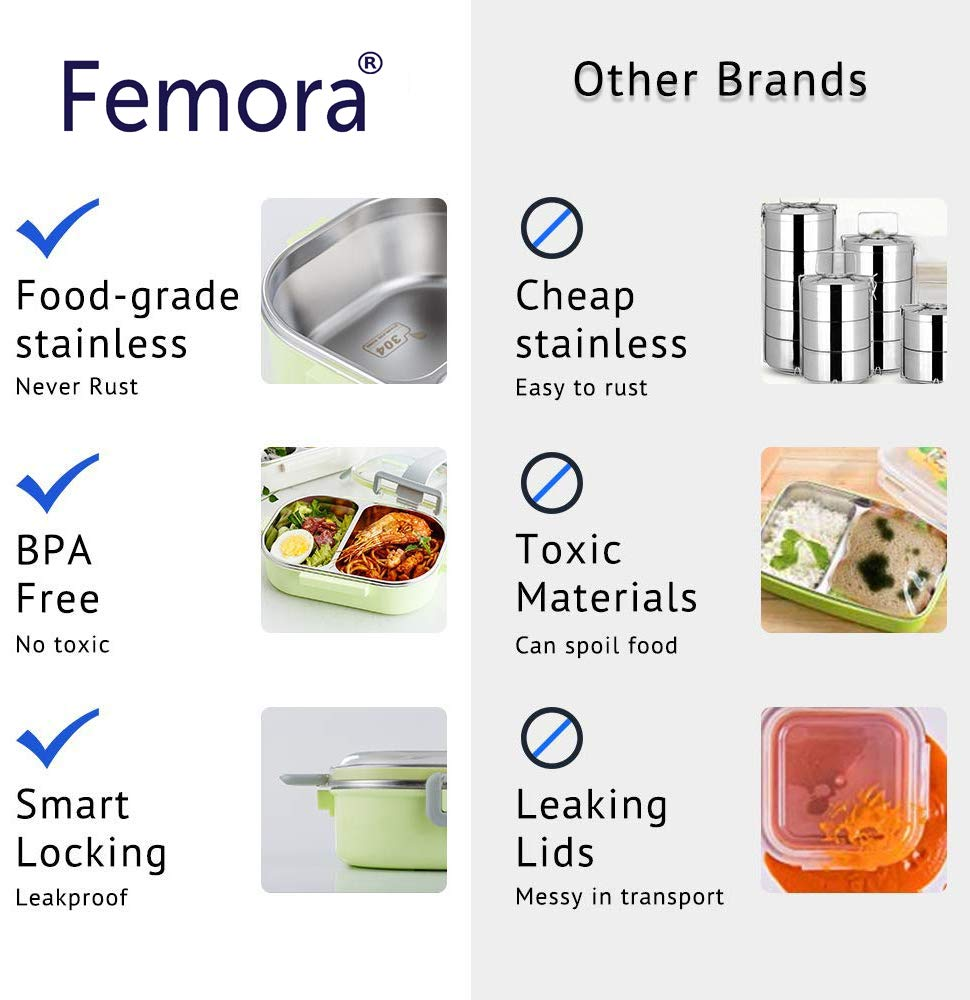 Femora High SS 304 Steel Lunch Box for Kids Storage Lunch Box with Handle
