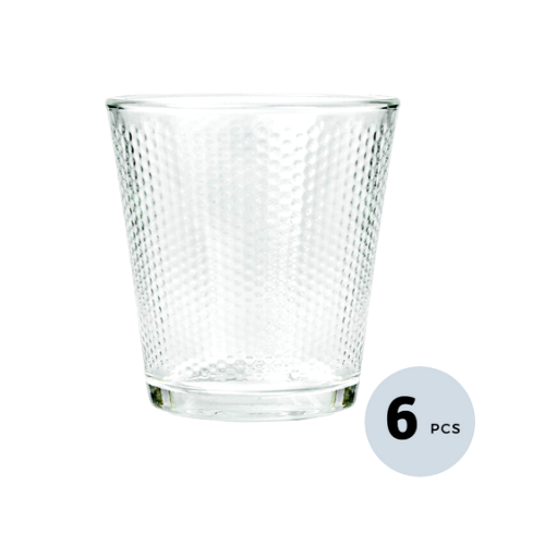 Clear Glass Diamond Checker Tumbler - 300 ML, Set of 6